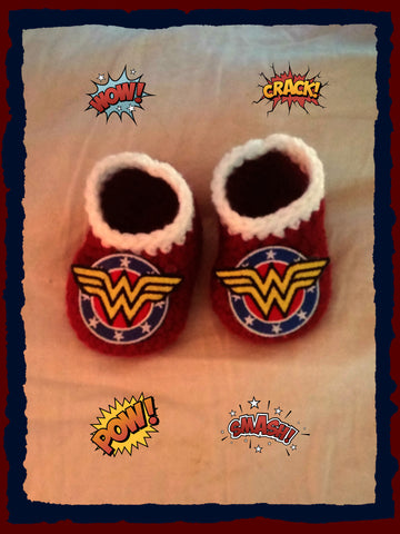 Wonder Woman Baby Booties | Wonder Woman Baby Shower Gift | 0-3 months 3-6 months | NEW | Made For The Size You Need