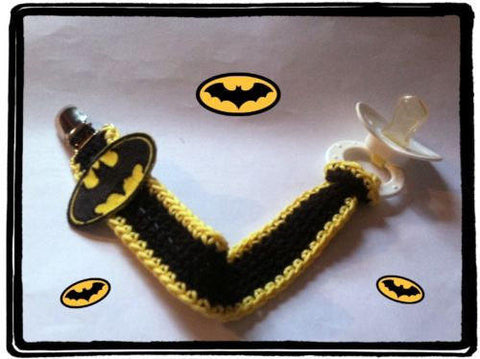 Batman Pacifier Clip With Strap | NEW | HANDMADE to Order