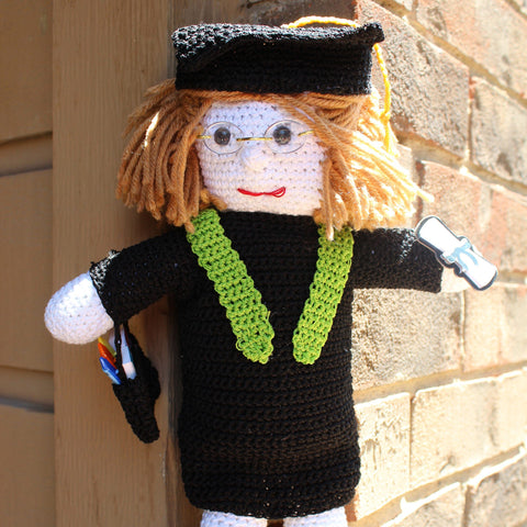 Graduate Doll Graduation Gift Approximately 10 inches tall Amigurumi Handmade Crochet Made to Order