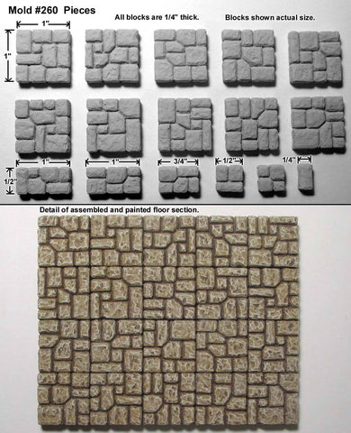 D&D Terrain 28mm Hirst Arts precast set from Flagstone Floor Tile Mold #260 - Cast in resin