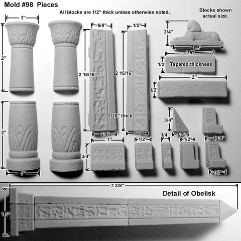 Hirst Arts Egyptian Temple Accessory Mold #98 Castings