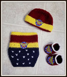 Wonder Woman Baby Photo Prop Costume | Body Suit Hat Booties | NEW | Made For The Size You Need
