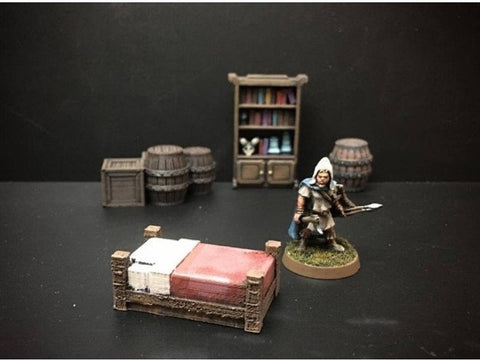 3D Printed Terrain 3d printed miniatures Delving Decor: Inn Bed