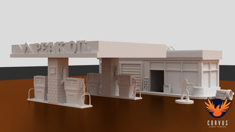 3D Printed Terrain Urban Gas Station