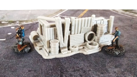 3D Printed Terrain Post Apocalyptic Hasty Barricade