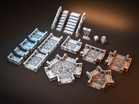 3D Printed Miniatures 3d Printed Terrain Orbital Outpost Walkway Basic Starter Set