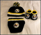 Pittsburgh Steelers Baby Photo Prop Costume | Diaper Cover Hat Booties | NEW | Made For The Size You Need