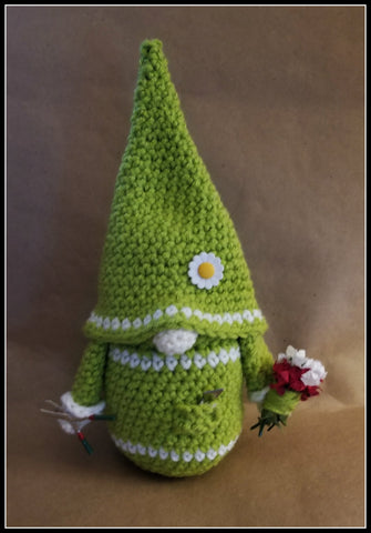 Gardener Gnome | Gardening Gnome | Flower Gnome | About 9 1/2 inches | NEW | HANDMADE