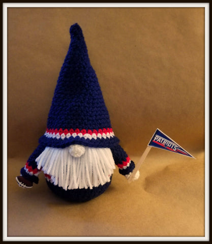 New England Patriots Gnome with Beard | Football Gnome | About 9 1/2 inches | NEW | HANDMADE to Order