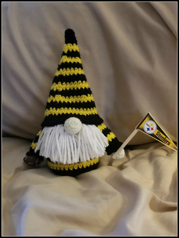 Pittsburgh Steelers Football Gnome with Beard| About 9 1/2 inches | NEW | HANDMADE