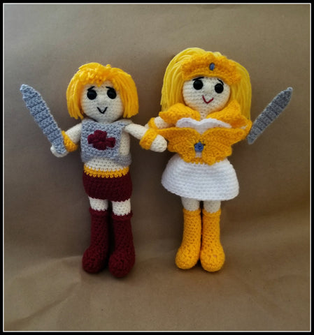 He-Man and She-Ra Doll Set | About 10in | NEW | HANDMADE CROCHET