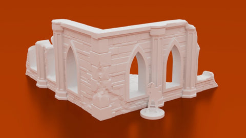 3D Printed Terrain 3D Printed Miniatures Sigillum Maleficis Sanctuary Ruined Corner
