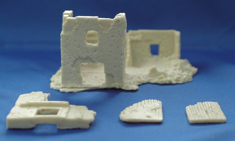 Terrain FOW Compatible 15mm WWII Euro 3 two story Bombed Out House Cast In Resin