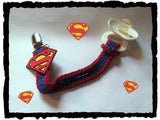 Superman Pacifier Clip With Strap | NEW | HANDMADE to Order