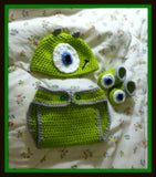 Monster's Inc Baby Photo Prop Costume | Diaper Cover Hat Booties | NEW | Made For The Size You Need
