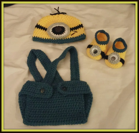 Minion Baby Photo Prop Set With Hat Diaper Cover And Booties Minion Baby Shower Gift Handmade Crochet Made to Order