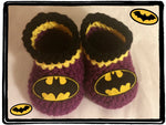 BATGIRL Baby Booties | Batgirl Baby Shower Gift | 0-3 months 3-6 months | NEW | Made For The Size You Need