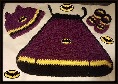 BATGIRL Baby Photo Prop Costume | Cape Hat Booties | NEW | Made For The Size You Need