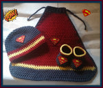 Superman Baby Photo Prop Set With Cape, Hat And Booties Superman Baby Shower Gift Size NewbornHandmade Crochet Made to Order
