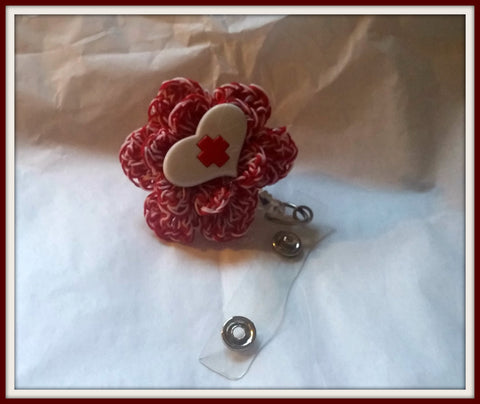 Nurse, Nursing, Nurses Retractable ID Badge Clip Handmade Crochet Made to Order
