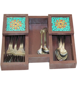 Wooden Cutlery Holder with Turquoise Stone Mosaic - Little Elephant