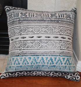 Distressed Black and Blue Geometric Print Handmade Throw Pillow Cover