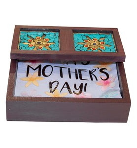 Wooden Napkin Holder with Turquoise Stone Mosaic - Little Elephant