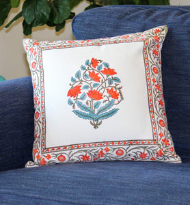 Blue and Orange Floral Linen Cushion Cover
