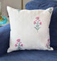White and Pink Floral Quilted Throw Pillow Cover