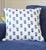 Blue Floral Quilted Throw Pillow Cover