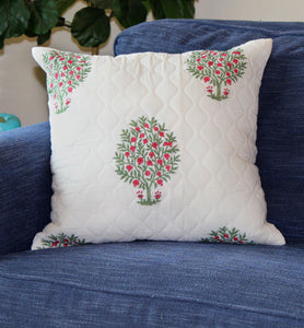 Pomegranate Tree Quilted Throw Pillow Cover