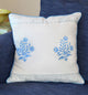 Classic Blue Floral Print Linen Cushion Cover