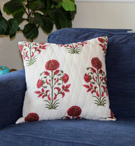 Red Floral Quilted Throw Pillow Cover