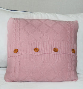 Pink Crochet Pillow Cover