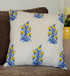 Bright Blue and Yellow Floral Quilted Throw Pillow Cover