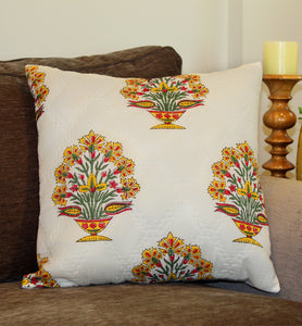 Yellow and Pink Flowers Quilted Throw Pillow Cover