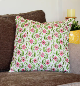 Classic Flower and Vine Quilted Throw Pillow Cover