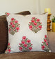 Pink Floral Bunches Quilted Throw Pillow Cover