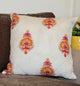 Red and Yellow Floral Quilted Throw Pillow Cover