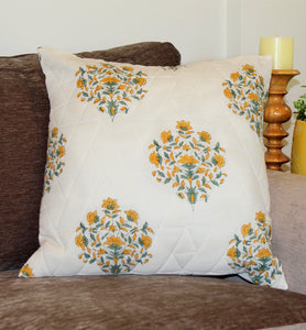 Quilted Yellow and Green Floral Throw Pillow Cover