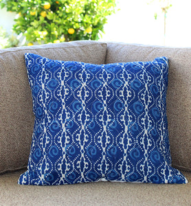 Organic Wavy Indigo Quilted Throw Pillow Cover