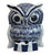 Hand-painted Navy and White Wooden Owl