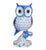 Rich Hand-painted Blue and White Owl Tabletop Figurine