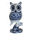 Hyperrealistic Navy and White Hand-painted Owl Figurine
