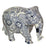 Hand-painted Navy and White Wooden Elephant Figurine
