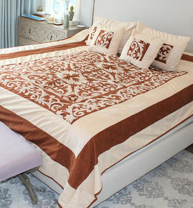 Abstract Design Velvet Bedspread Set - Little Elephant