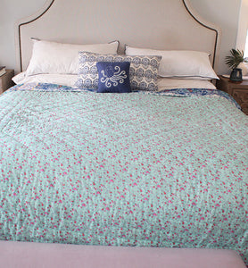 Cotton Quilt With Abstract Floral Design - Little Elephant