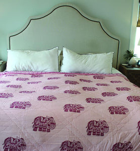 Boho Elephant Motif Cotton Quilt - Little Elephant
