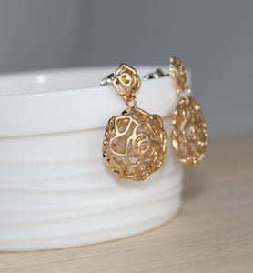 Golden Hollow Rose Earrings - Little Elephant