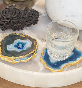 Blue Agate Coaster with Gold Trim - Little Elephant